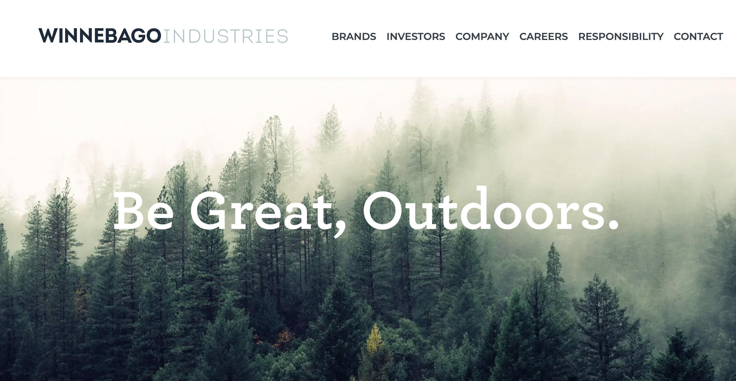 Screen grab from Winnebago Industries' new website
